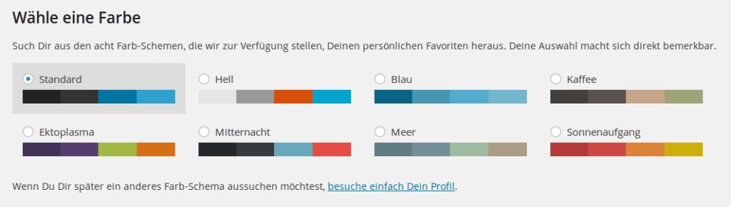 Wordpress 3.8 Backend Farbschemen